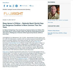pediatric,sleep apnea,snoring,children,kids,redondo beach,los angeles,dentist,dr,michael fulbright